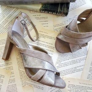 SEYCHELLES Betrayal Suede Metallic Heel Sandals